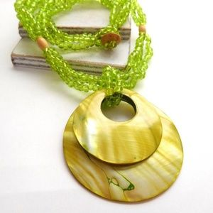 Jewelry - Lime Green Bead Abalone Shell Pendant Necklace